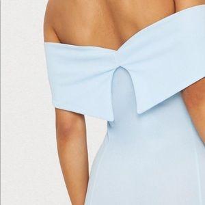 Dresses - Blue Bardot frill hem midi dress